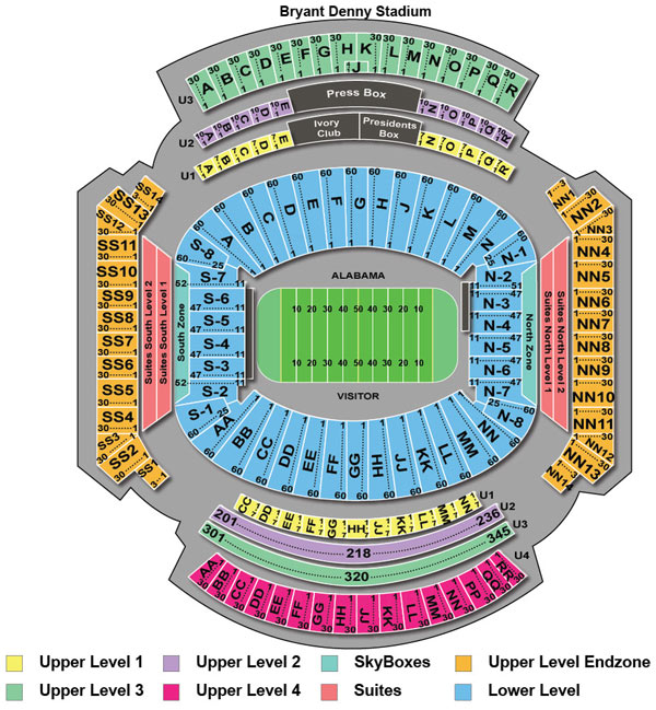 Bryant Denny Stadium Seating Chart Bryant Denny Stadium